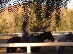 MaryE riding Zeke